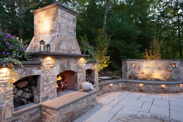 Stonefire Tan Outdoor Fireplace